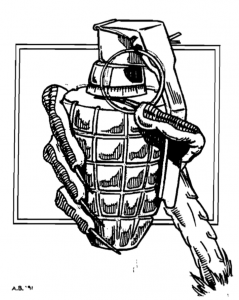 Grenade and hand.