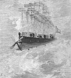 Name: Benett, Léon Dates: 1839-1917 Country: France ILLUSTRATION Subject: Science & technology Technique: Wood engraving Engraver: Moller, F. Format: Portrait (taller) Source: University of California Libraries, the Internet Archive BOOK Title: The clipper of the clouds Author(s): Verne, Jules Publisher: London: Sampson Low, Marston & Company, Limited, 1887